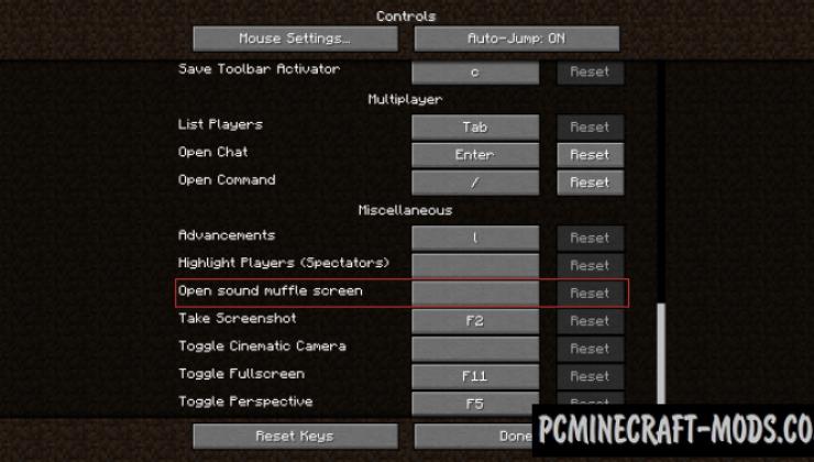 Extreme Sound Muffler - Tweak Mod For MC 1.16.5, 1.16.4