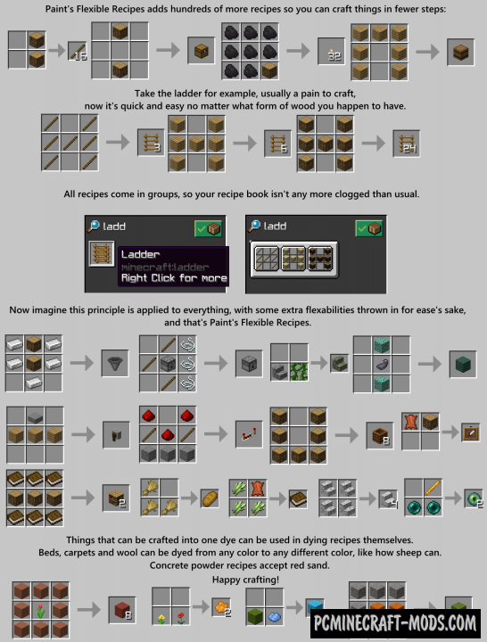 Paint's Flexible Recipes Data Pack For MC 1.16.5, 1.16.4, 1.15.2