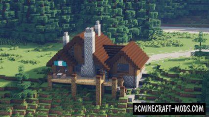 Mountain Log House - Custom Terrain Map For MC