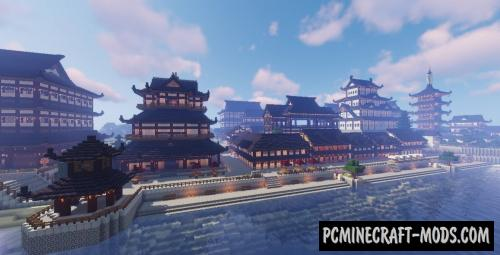 Coast Japanesse Town Map For Minecraft